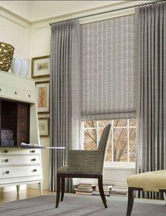 Gray drapes & gray shades.