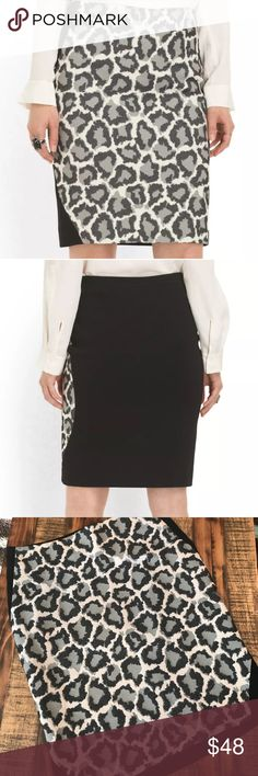 """DVF Emma Pencil Skirt leopard animal print size 8 Diane von Furstenberg Skirt-Emma Leopard Print in Ivory/Black/Fog Style: BLIVF Size: 8 A midweight woven textured fabric in leopard print Stretch knit back Front lined Hidden side zipper Hits above knee Dry clean only Approximate Size Measurements: 8 - 31.5"""" waist, 37"""" hip, 21"""" length Diane Von Furstenberg Skirts Pencil"""
