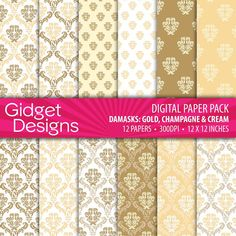 Gold Digital Paper Pack Printable Damask Pattern Gold Champagne Cream DIY Wedding Stationery Bridal Shower Great Gatsby