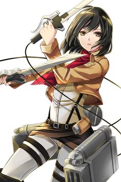 Mikasa Ackerman - Shingeki no Kyojin / Attack on Titan,Anime Attack On Titan, Manga Anime, Anime Art, I Love Anime, Awesome Anime, Connie Springer, Accel World, Levi X Eren, Cartoons