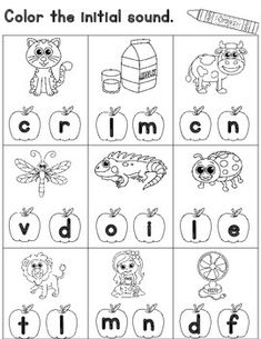 Initial Sound Worksheets for Kindergarten: Cut and Paste. Kinder beginning sounds Worksheets. Preschool Alphabet, Preschool Learning Activities, Alphabet Activities, Kindergarten Worksheets, Alphabet Crafts, Alphabet Letters, Nursery Worksheets, Alphabet Worksheets, Handwriting Worksheets