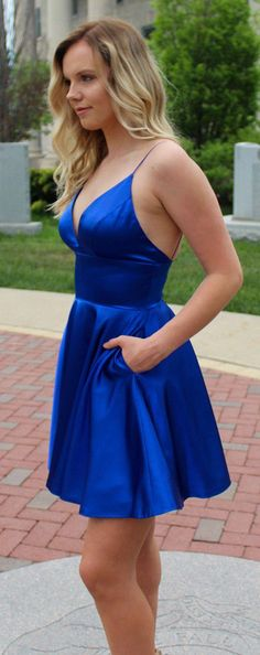 Royal blue spaghetti strap homecoming dresses with pocket. V neck mini simple homecoming dress. Source by corinneannmarieag short dresses Royal Blue Homecoming Dresses, Two Piece Homecoming Dress, Hoco Dresses, Satin Dresses, Cute Dresses, Royal Blue Short Dress, Cobalt Blue Dress, Dance Dresses, Spaghetti