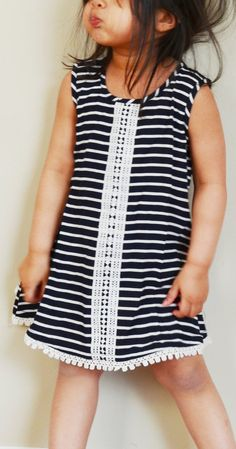 Girls 2T and 3T black and white stripe summer or spring by Poshra