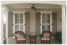 I like the shutters and what they add to the whole look. Image detail for -House Shutters Exterior Ideas / Best Photos and Pictures of Home . Exterior Color Schemes, Exterior Paint Colors, Exterior House Colors, Paint Colors For Home, Beige House Exterior, Exterior Shutter Colors, House Shutters, Window Shutters, Homes With Shutters