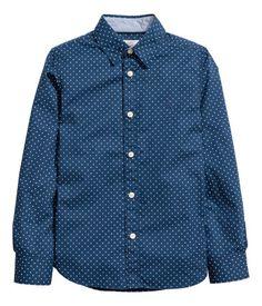 Cotton Shirt $12.99 | 10-11Y Dark blue/dotted | Kids | H&M US
