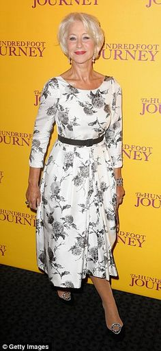 This dress that Helen Mirren is wearing is super elegant.  Black floral print on a neutral background is one of my favourite looks.