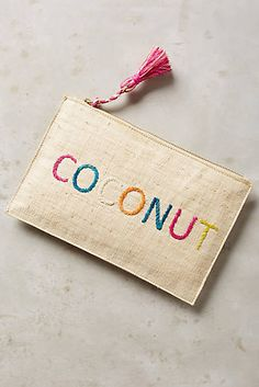 Embroidered Coconut Pouch