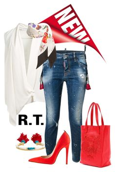 """""""R.T.-571 Best Jeans & Scarf look"""" by sopo-davituri ❤ liked on Polyvore featuring Victoria Beckham, Aurélie Bidermann, Dsquared2, Kenzo, SJP and Gucci"""