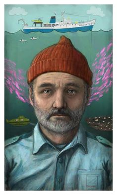 """Steve Zissou"" movie poster by Matthew Rabalais. Inspired by The Life Aquatic. Available online at http://hcgart.com/products/starring-bill-murray-as-steve-zissou-by-matthew-rabalais. More of his art here http://matthewrabalais.com/ Follow Matt on twitter https://twitter.com/RabalaisArt"