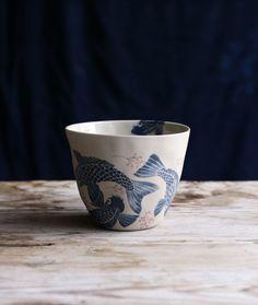 Mug Karp in porcelain clay. Pattern Design Emma von Brömssen in collaboration with ceramic designer Kajsa Cramer. Designer, Pottery, Clay, Kitchen Stuff, Tableware, Tiles, Products, Ceramica, Clays