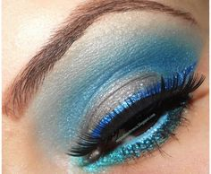 Shimmery blue and silver makeup capture the essence of Cinderalla. Silver Makeup, Make Up Tricks, Disney Makeup, Eye Make Up, Wedding Themes, Blue And Silver, Cinderella, Hair Makeup, Eyes