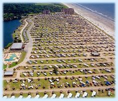 Aerial view of Myrtle Beach Travel Park Then down the east coast with travel trailer to Key Largo. June here we come Camping Places, Camping Spots, Beach Camping, Family Camping, Go Camping, Beach Trip, Beach Travel, Rv Travel, Camping Ideas