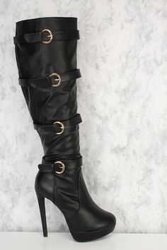 These upcoming seasons make a statement and finish off the look with these stylish high heel boots! Featuring  faux leather, a pointy round toe, platform, high heel,high polish buckle strap accent, inner side zipper closure, stitch trim, followed by a cushion footbed. Approximately  Approximately 5 1/2 inch heels and 1 1/2 inch platforms 14 1/2 inch circumference, and 17 inch shaft.