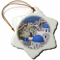 3dRose LLC orn_137346_1 Porcelain Snowflake Ornament 3Inch Greece Santorini Oia on The Island of SantoriniDavid Noyes -- Check this awesome product by going to the link at the image.