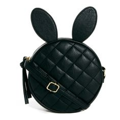 ASOS Quilt Cross Body Bag With Rabbit Ears ($28) ❤ liked on Polyvore featuring bags, handbags, shoulder bags, purses, accessories, black, black purse, asos, crossbody shoulder bags and black cross body purse