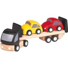 Head off on an imaginary road trip with the Car Transporter by Plan Toys. The transporter lorry is made from natural solid rubberwood with a painted black cab, articulated detachable trailer, eight rubber wheels and moveable loading ramp. Toddler Toys, Baby Toys, Kids Toys, Wooden Toy Cars, Wood Toys, Play Vehicles, Plan Toys, Green Toys, City Car