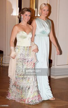 Crown Princess Mette-Marit of Norway (R) and Princess Martha Louise of Norway attend an official dinner at the Norwegian Royal Palace on March 20, 2012 in Oslo, Norway. Prince Charles, Prince of Wales and Camilla, Duchess of Cornwall are on a Diamond Jubilee tour of Scandinavia that takes in Norway, Sweden and Denmark.