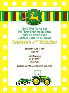 john deere party invitation free printable | John Deere Plow Digital Birthday Invitation- YOU PRINT ...