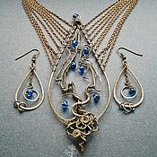"""Handmade Jewelry. Fair Masters - handmade copper set with the tree """"Guardian moonwell"""" necklace and earrings. Handmade."""