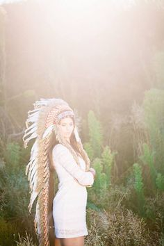 Photography by Rainer Moster - Model: Lisa - fashion friendship romance boho feathers Indian headdress Hippie