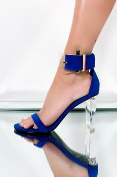 The Leysa heel by Cape Robbin features a clear PVC buckled strap and lucite heel. Royal Blue High Heels, Blue Heels, Chunky Sandals, Strappy Sandals Heels, Spring Heels, Summer Heels, Heels Outfits, Sandals Outfit, Clear Heels