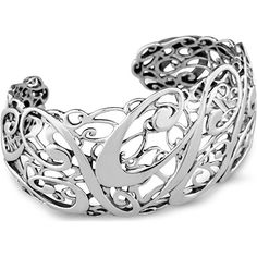 Carolyn Pollack 925 Sterling Sculptural Cuff Bracelet Celebrate your fabulous look and your Carolyn Pollack jewelry collection with this graceful and sculptural cuff bracelet. This limited edition cuff is airy and comfortable although substantial and one of artistry on the wrist. The intricate polished and sleek 925 sterling silver filigree design showcases a swirling cursive designers logo signature CP on top of an intricate design of sterling that extends the length of the cuff that…