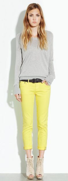 yellow pants with gray shirt<3 This is one of the only ways I would ever wear yellow:)