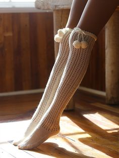 13d9691e972 at Free People    Memoi Dotted Trek Over the Knee Sock in ivory