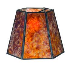 Antique Amber Mica Hexagon Lamp Shades 05700M | Antique Lamp Supply