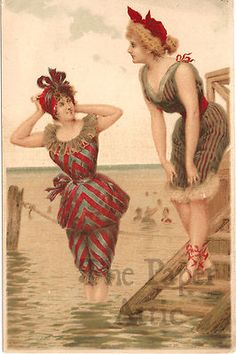 Edwardian Women in Bathing Swim Suits Antique Vintage French Chromo Trade Card
