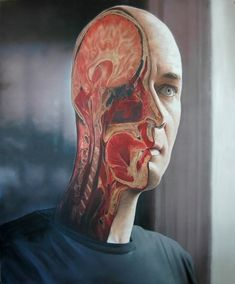 Amazing paintings by Victor Rodriguez! Victor Rodriguez - Phonecall 2001 Please check out this AMAZING album. Hyper Realistic Paintings, Amazing Paintings, Brain Art, Image Blog, Anatomy Art, Surreal Art, Akita, Science Nature, Oil On Canvas