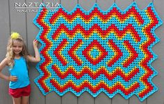 Free Pattern from Elizabeth Ham (bethintx1) - Crochet Drop In The Pond Lapghan Blanket - Crocheted by Naztazia
