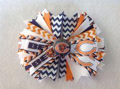 Chicago Bears Stacked Chevron Hair Bow With Matching Headband, Girls handmade #Handmade
