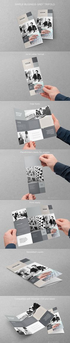 Simple Business Grey Trifold — InDesign INDD #minimal #brochure • Available here → https://graphicriver.net/item/simple-business-grey-trifold/11370585?ref=pxcr
