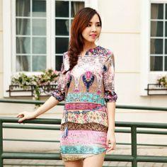 European style spring summer 2014 women's ethic printing half sleeve retro cotton dress irregular free shipping High Quality US $23.50