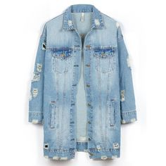LE3NO Womens Vintage Oversized Distressed Ripped Denim Boyfriend... (€42) ❤ liked on Polyvore featuring outerwear, jackets, boyfriend denim jacket, oversized jackets, vintage jean jacket, vintage jackets and boyfriend jean jacket