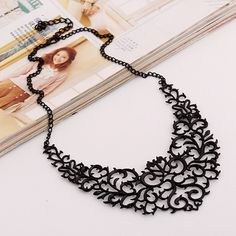 Metallic Hollow Carved Necklace (Metal Color: Black) | To save upto 50% visit our website  uniquefashionusa.com