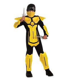 Yellow & Black Ninja Dress-Up Outfit - Kids