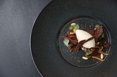 """Valrhona C3: """"Tastes like Home"""" Plated Dessert by Pastry Chef Benjamin Kunert Cèpe Ice Cream, Cherrywood Ganache from Switzerland"""