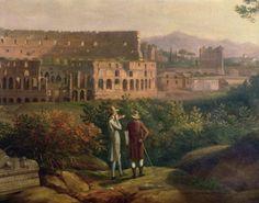 Jacob Philipp Hackert. Johann Wolfgang von Goethe visiting the Colosseum in Rome. ca. 1790.  Oil on canvas.