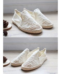 Ivory wedding espadrillas. Round toe Cotton Rubber sole Wedding shoes