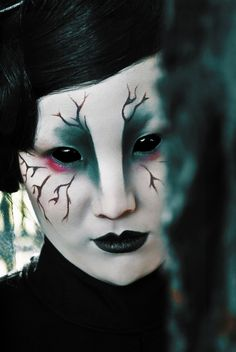 Seriously Freaky Halloween Make-up. With full eye cover contact lenses. the crow  by ~Nyneve
