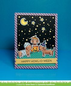Have a happy howl-o-ween with this cute set of pups and costumes! This set is great for creating Halloween cards, or for making cards and crafts for a dog-lover