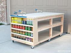DIY workbench with tons of storage! Easy to follow plans, easy to build