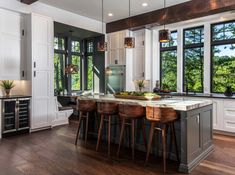 Organic Modern Mountain Home - Rustic - Kitchen - Other - by Living Stone Design + Build Rustic Kitchen Design, Home Decor Kitchen, Kitchen Furniture, Kitchen Interior, New Kitchen, Kitchen Ideas, Kitchen Nook, Kitchen Paint, Kitchen Colors