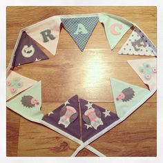 Personalised #mint and #pink #bunting made for a #baby girl. I can make #nursery bunting in a range of styles visit www.made-by-Gemma.co.uk or like me on Facebook Pink Bunting, Nursery Bunting, Make And Sell, How To Make, Mint, Range, Facebook, Baby, Design