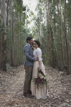 Sam & Andrew's wedding shot by Andre Sonnekus; floral decor by EcoChic Weddings. Dimity EcoBride gown of vintage edge laces & crochet flowers, with an antique silk & tulle skirt, tied with velvet ribbon in the waist. www.dimity.co.za www.andresonnekus... www.ecochicweddin...