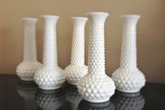 Hobnail vases.  Vintage White Milk Glass Hobnail Bud Vase by MidwestMilkGlass.