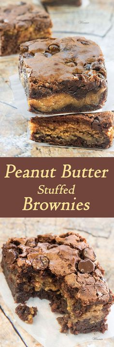 The most delicious treat - Peanut Butter Stuffed Brownies scroll all the way down 13 Desserts, Delicious Desserts, Yummy Food, Italian Desserts, Brownie Recipes, Cookie Recipes, Dessert Recipes, Brownie Deserts, Game Recipes
