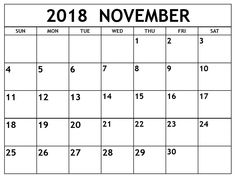 Cute Free Printable Number Calendar November 2018